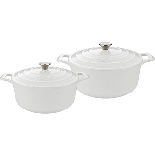 La Cuisine Pro 4-piece Round Cast Iron Casserole Set with White Enamel Finish