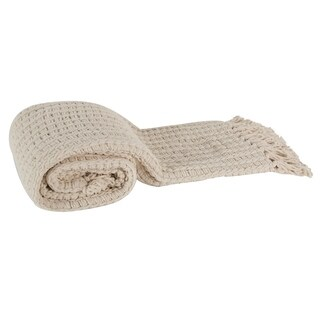 Ivory Micro Poly Basketweave Throw