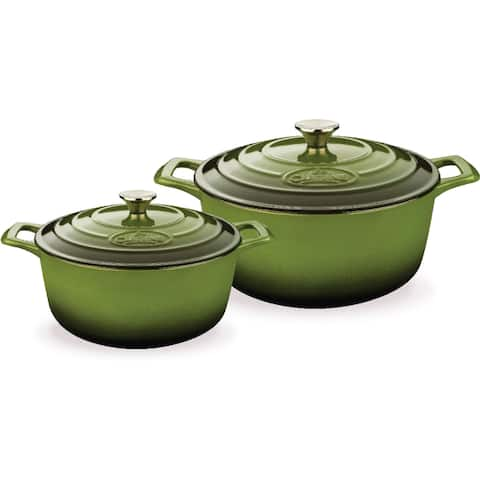 La Cuisine PRO 4-piece Round Green Enameled Cast Iron Casserole Set