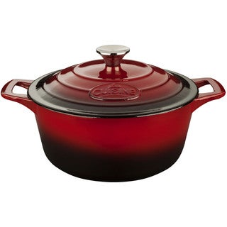 La Cuisine PRO Red Cast Iron 5-quart Round Casserole with Enamel Finish, Red