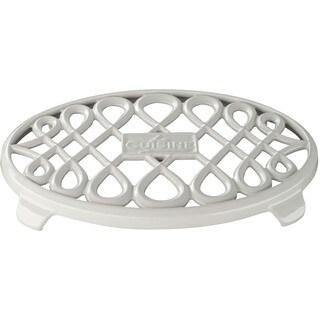 La Cuisine White Cast Iron 10-inch x 7-inch Oval Trivet
