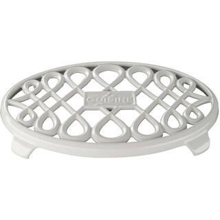 La Cuisine White Cast Iron 10-inch x 7-inch Oval Trivet https://ak1.ostkcdn.com/images/products/12344793/P19173969.jpg?impolicy=medium