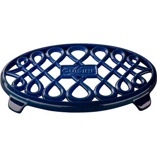La Cuisine Blue Oval Cast Iron 10-inch x 7-inch Trivet