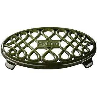 La Cuisine Green Cast Iron 10-inch x 7-inch Oval Trivet