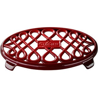 La Cuisine Red Cast-iron 10-inch x 7-inch Oval Trivet