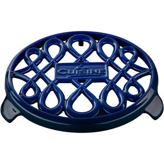 La Cuisine 7-inch Round Cast Iron Blue Trivet