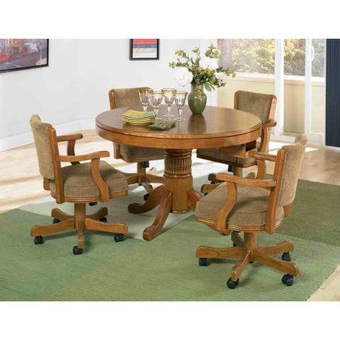"Coaster Company Oak Round Game Table - 30"" x 47.25"""
