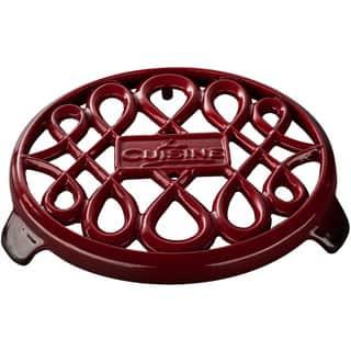 La Cuisine Red Cast-iron 7-inch Round Trivet https://ak1.ostkcdn.com/images/products/12344812/P19173980.jpg?impolicy=medium
