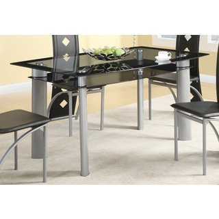Metal and Glass Contemporary Black Dining Table