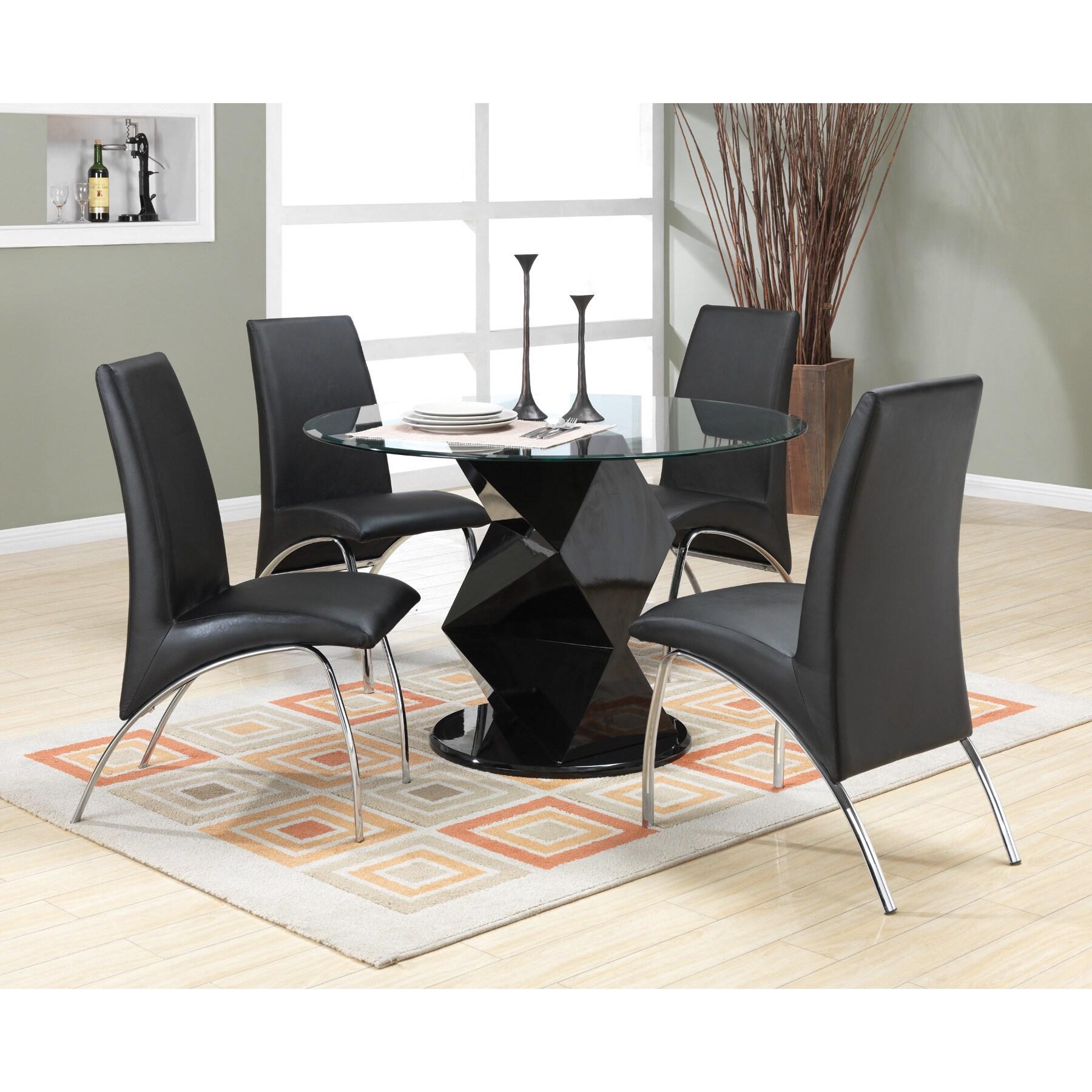 Coaster Furniture Glossy Black Pedestal Round Dining Tabl...