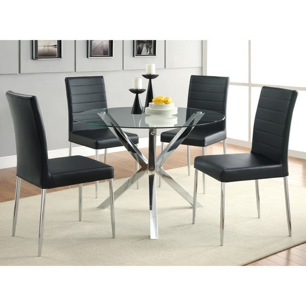 coaster company chrome glass top dining table free shipping today overstock 19174003. Black Bedroom Furniture Sets. Home Design Ideas
