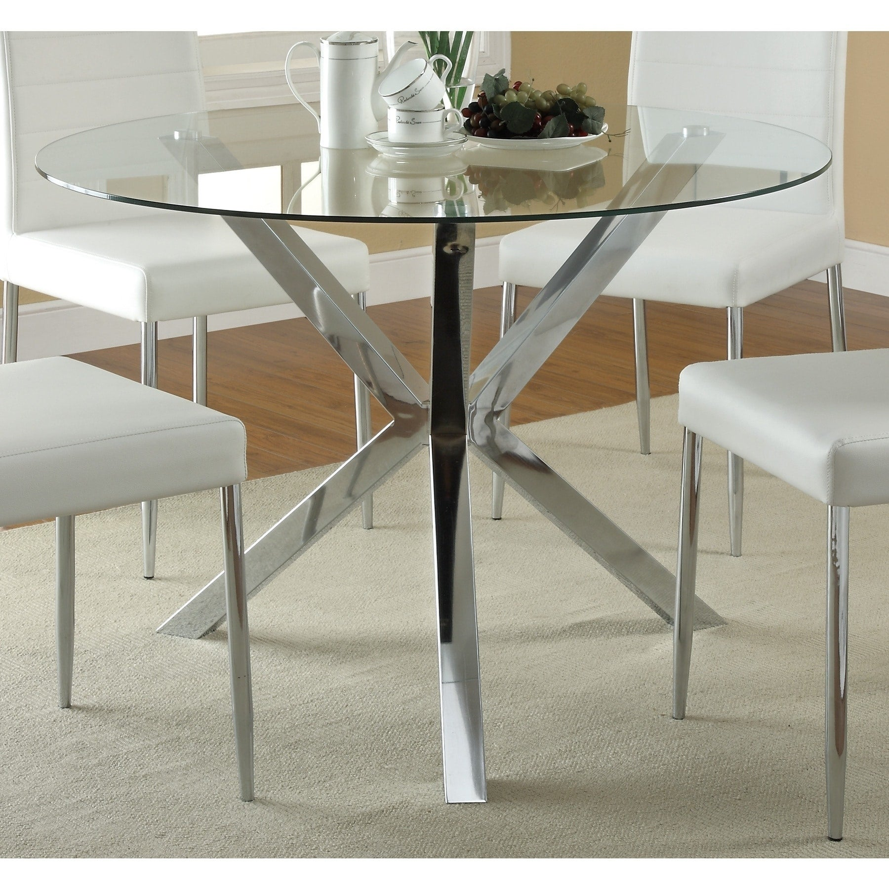 Coaster Company Chrome Glass Top Dining Table