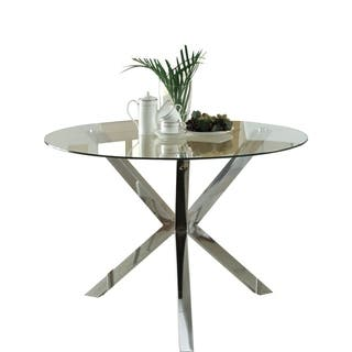 "Coaster Company Chrome Glass Top Dining Table - 30"" x 41.25"""