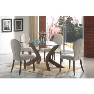 Glass Top Wood Rectangle Dining Table
