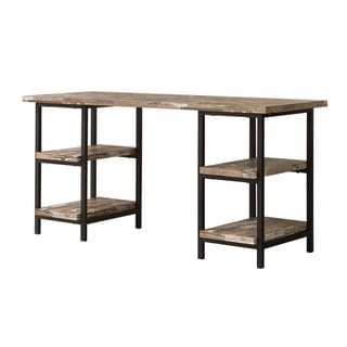 Carbon Loft Dumont Salvaged Cabin Wood and Black Metal Finish Desk
