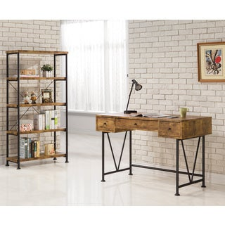 "Coaster Company Black Metal ""V""-Base Reclaimed Wood 3-Drawer Desk"