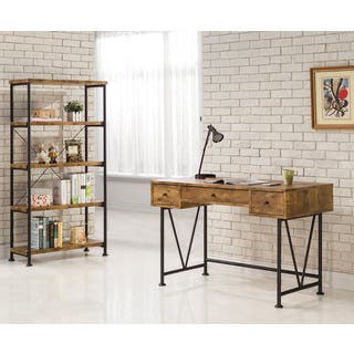 Carbon Loft Jess Black Metal V-base Reclaimed Wood 3-drawer Desk