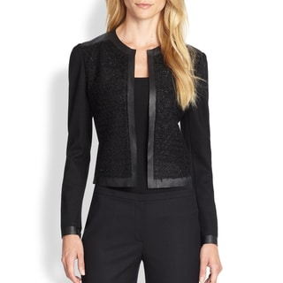 Elie Tahari Pearson Wool Leather Mixed Media Blazer