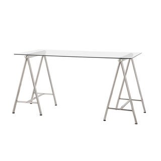 Glass Nickel Sawhorse Writing Desk
