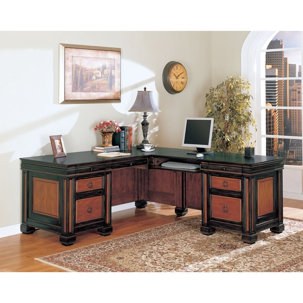 shop coaster company black cherry l shaped desk on sale free shipping today. Black Bedroom Furniture Sets. Home Design Ideas