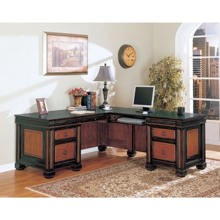 Coaster Black/ Cherry L-shaped Desk