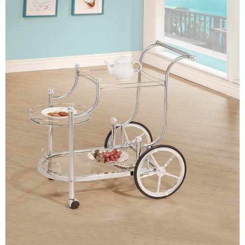 "Silver Orchid Olivia Chrome and Tempered Glass Serving Cart - 32.50"" x 19.25"" x 31.75"""