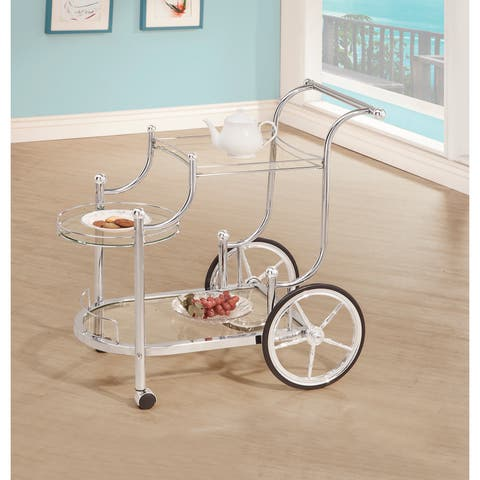 """Silver Orchid Olivia Chrome and Tempered Glass Serving Cart - 32.50"""" x 19.25"""" x 31.75"""""""