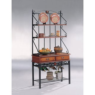 Coaster Company Kitchen Cabinet Bakers Rack With 3 Shelves (Tobacco Finish)