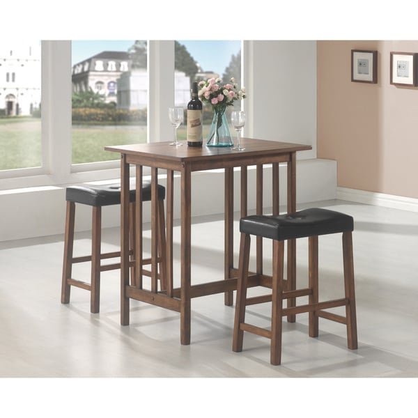 Merveilleux Coaster Company Brown Wood 3 Piece Dining Set