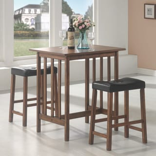 Brown Wood 3-piece Dining Set