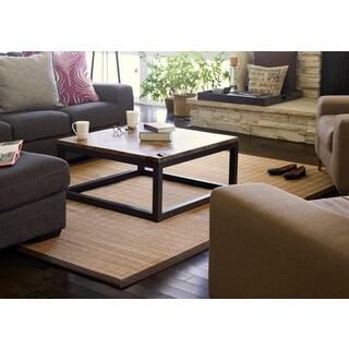 Jani Zenith Brown Border Bamboo Rug (2' x 3')