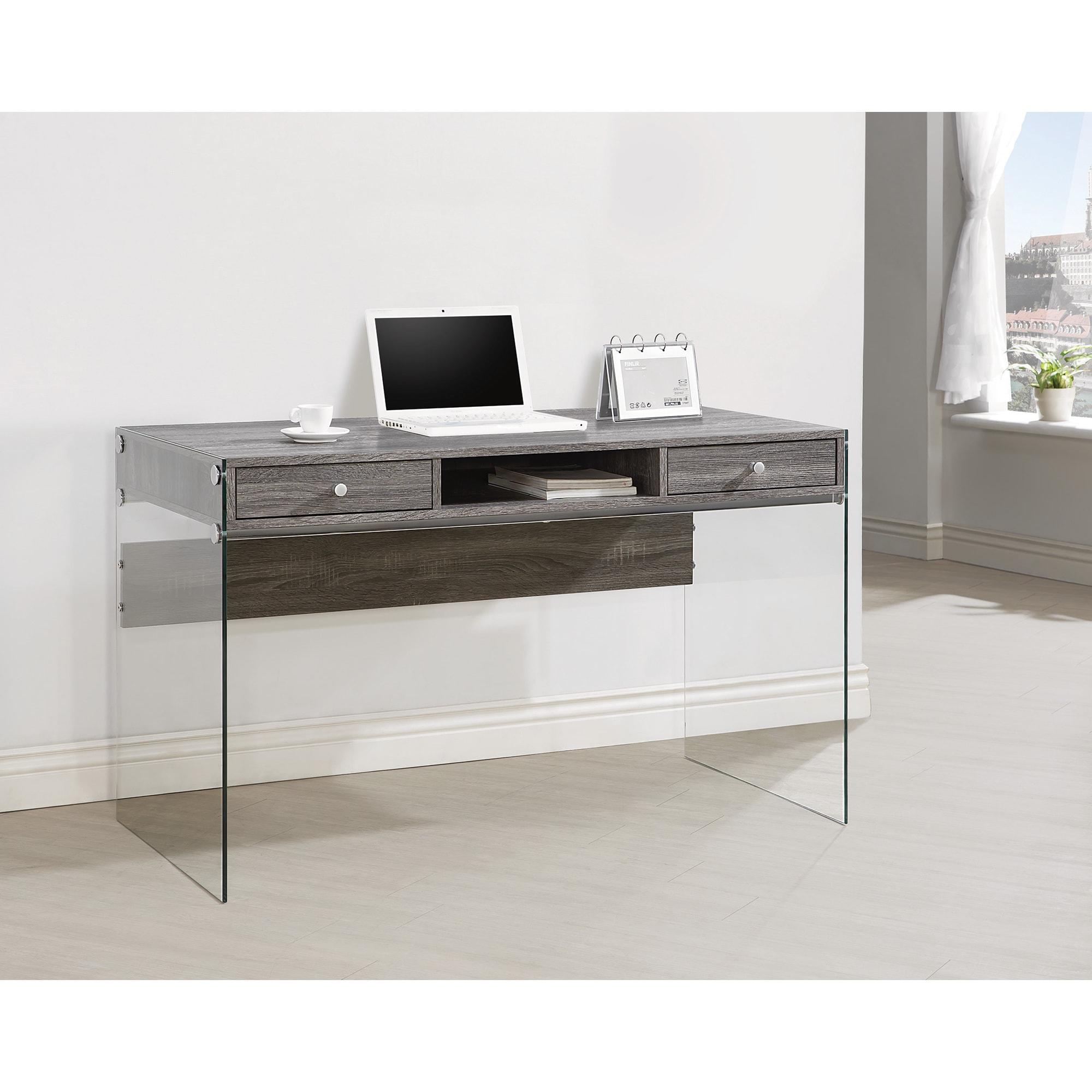 Shop Oliver James Jonsson Glass And Metal Computer Desk Free