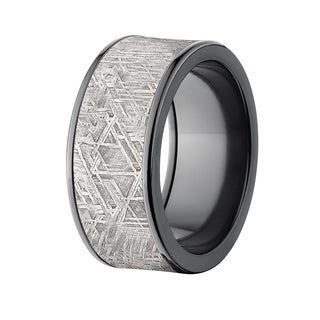 Flat Black Zirconium 10mm Meteorite Ring