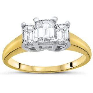Noori 18k Yellow Gold and Platinum 1ct TDW Emerald-cut Diamond 3-stone Engagement Ring (H-I, SI1-SI2)