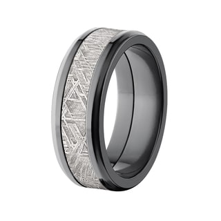 Men's Beveled Black Zirconium Meteorite Ring