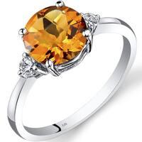 Oravo 14k White Gold 1 3/4ct TGW Citrine Round-cut 1/10ct TDW Diamond Ring
