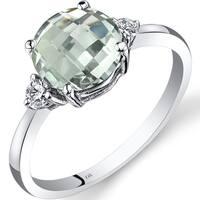 Oravo 14k White Gold 1 3/4ct TGW Amethyst Round-cut 1/10ct TDW Diamond Ring