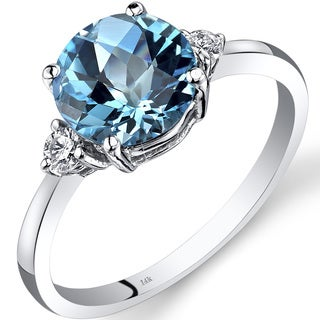 Oravo 14k White Gold 2 1/4ct TGW Swiss Blue Topaz Round-cut 1/10ct TDW Diamond Ring