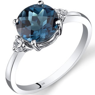 Oravo 14k White Gold 2 1/4ct TGW London Blue Topaz Round-cut 1/10ct TDW Diamond Ring