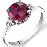 Oravo 14k White Gold 2 1/2ct TGW Created Ruby Round-cut 1/10ct TDW Diamond Ring