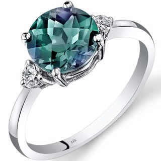 Oravo 14k White Gold 2 1/4ct TGW Alexandrite Round-cut 1/10ct TDW Diamond Ring