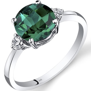 Oravo 14k White Gold 1 3/4ct TGW Emerald Round-cut 1/10ct TDW Diamond Ring