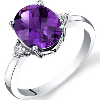 Oravo 14k White Gold 2 1/4ct TGW Amethyst Oval-cut 1/10ct TDW Diamond Ring