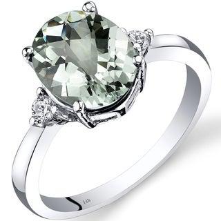 Oravo 14k White Gold 2 1/4ct TGW Amethyst Oval-cut 1/10ct TDW Diamond Ring