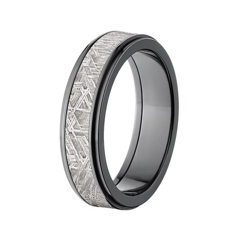 Black Zirconium Meteorite 6-millimeter Raised Center Ring