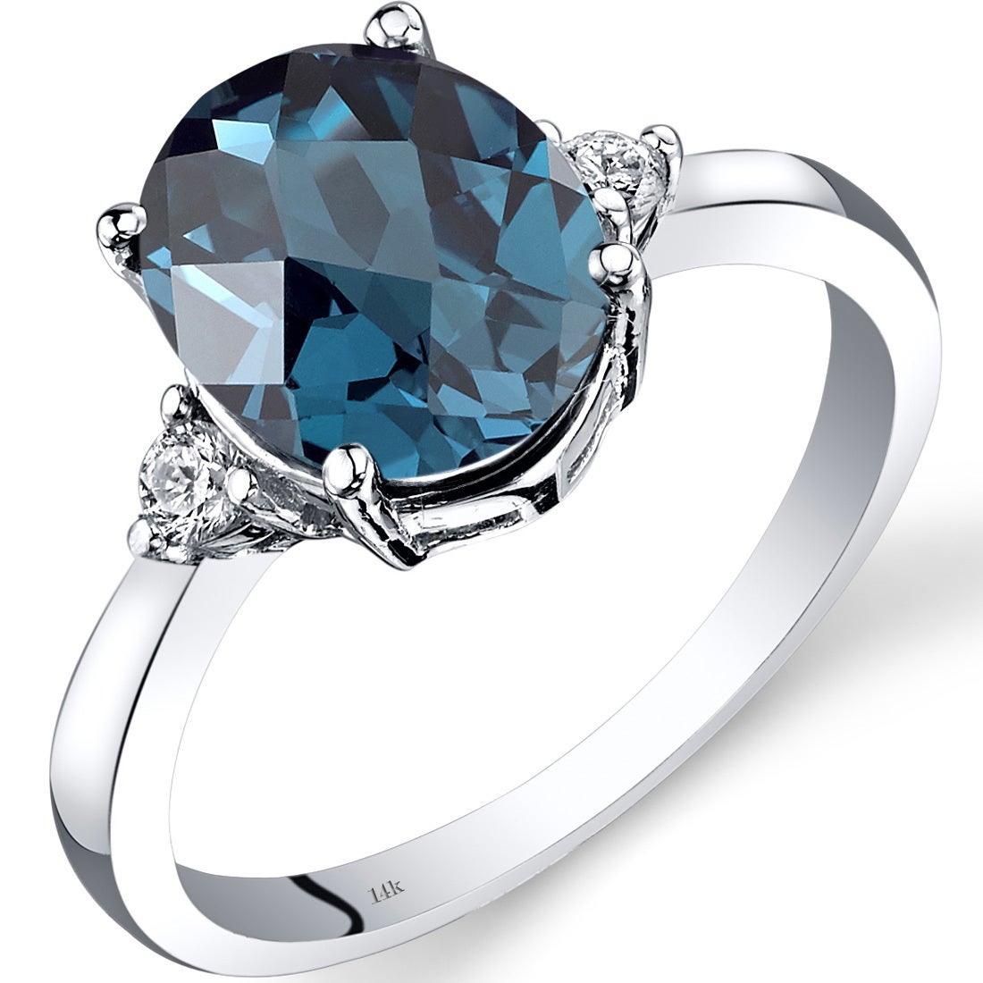 14K White Gold Diamond /& Blue Topaz December Oval Stone Ring Size 7