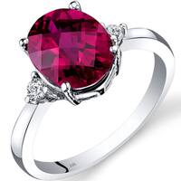 Oravo 14k White Gold 3 1/2ct TGW Created Ruby Oval-cut 1/10ct TDW Diamond Ring