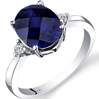 Oravo 14k White Gold 3 1/2ct TGW Created Sapphire Oval-cut 1/10ct TDW Diamond Ring