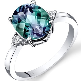 Oravo 14k White Gold 3ct TGW Created Alexandrite Oval-cut 1/10ct TDW Diamond Ring