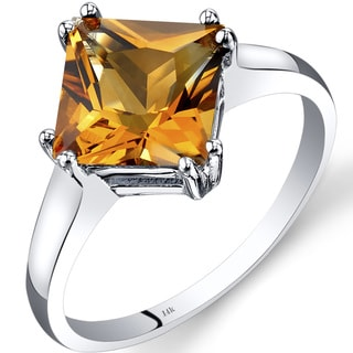 Oravo 14k White Gold 2 1/4ct TGW Citrine Solitaire Princess-cut Solitaire Ring